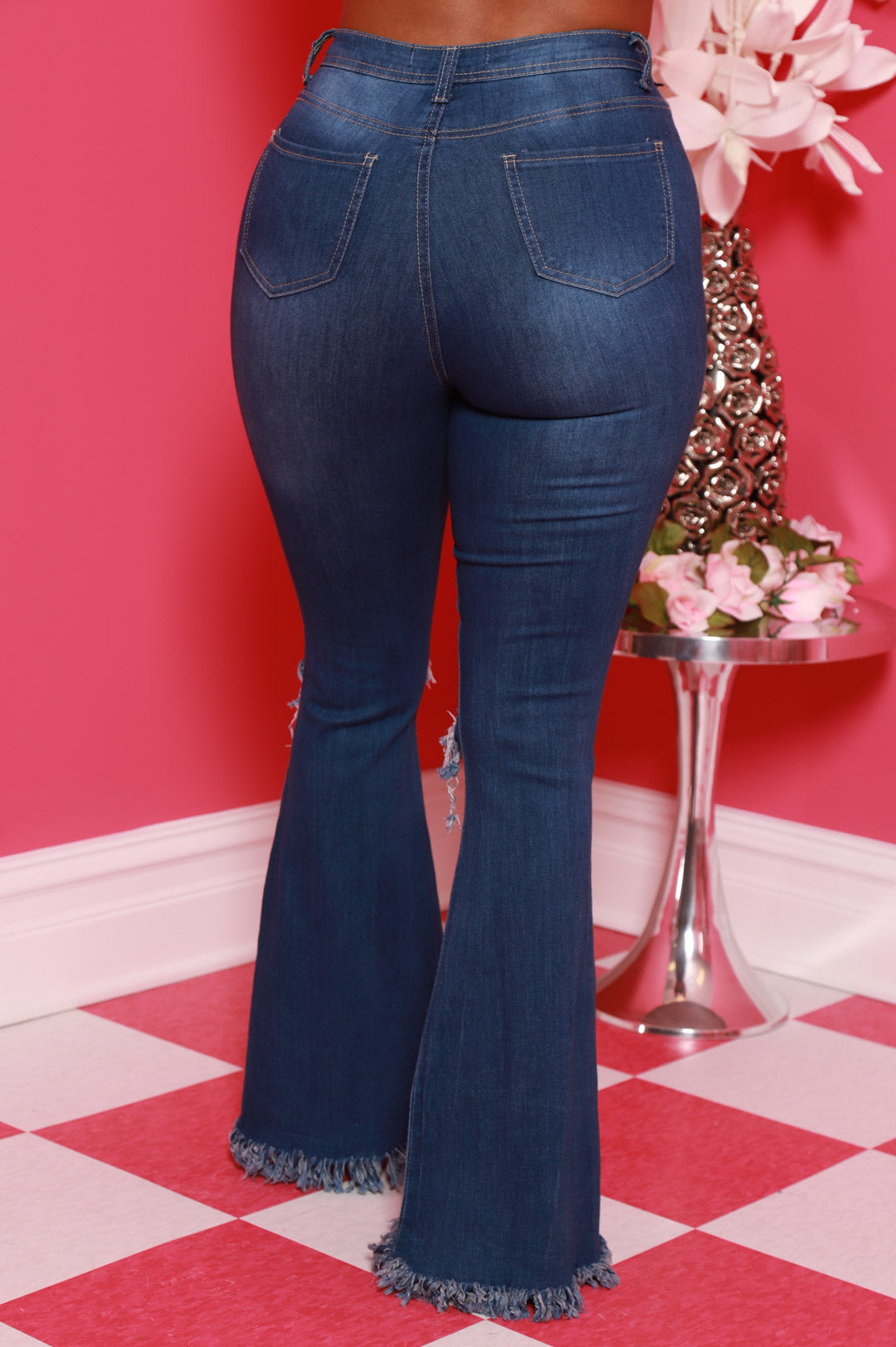 Frontline High Rise Frayed Bell Bottom Jeans - Mid Wash - Swank A Posh