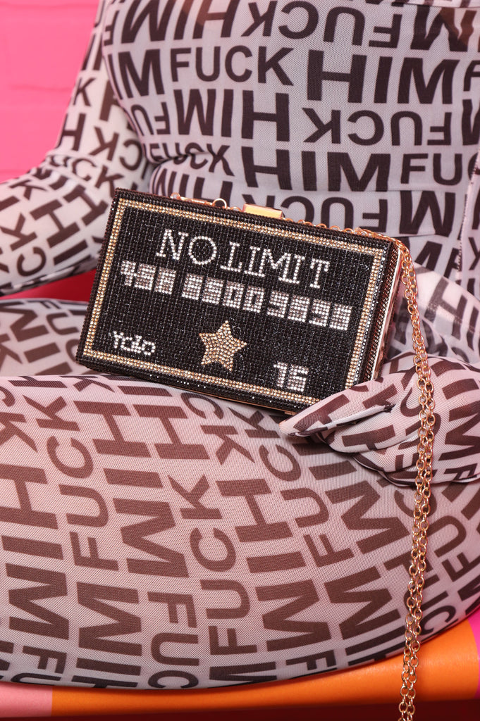 No Limit Credit Card Rhinestone Purse - Black - Swank A Posh
