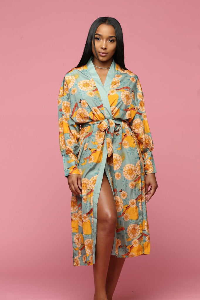 Flowers That Be Longline Split Kimono - Teal