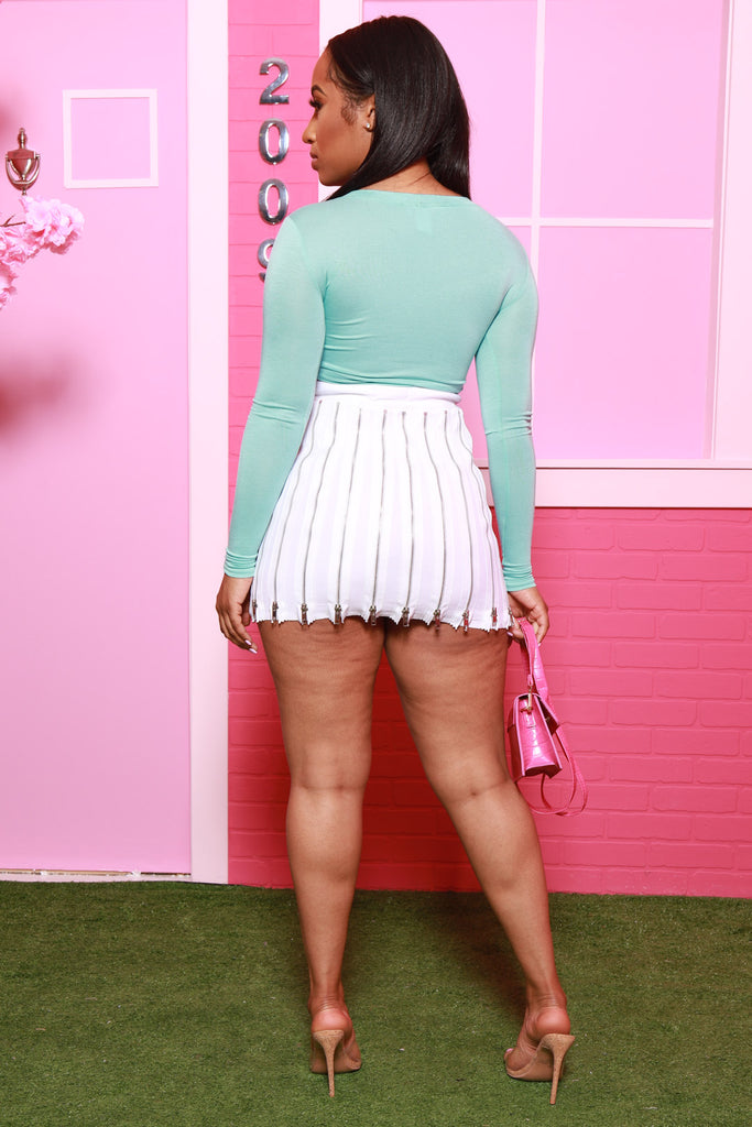 Just Barely Long Sleeve Crop Top - Mint - Swank A Posh