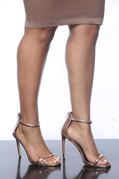 Kimberly Rose Gold Open-Toe Heels