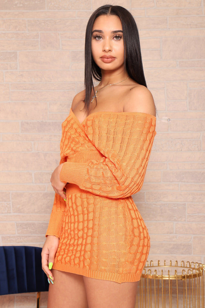 No Filter Knit Skirt Set - Tangerine - Swank A Posh