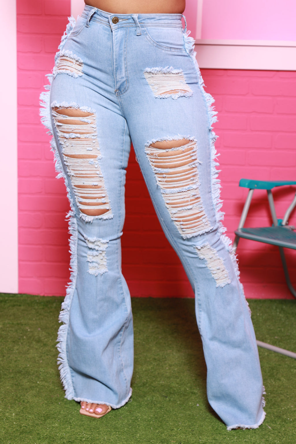 Fate High Rise Distressed Flare Jeans - Light Wash - Swank A Posh