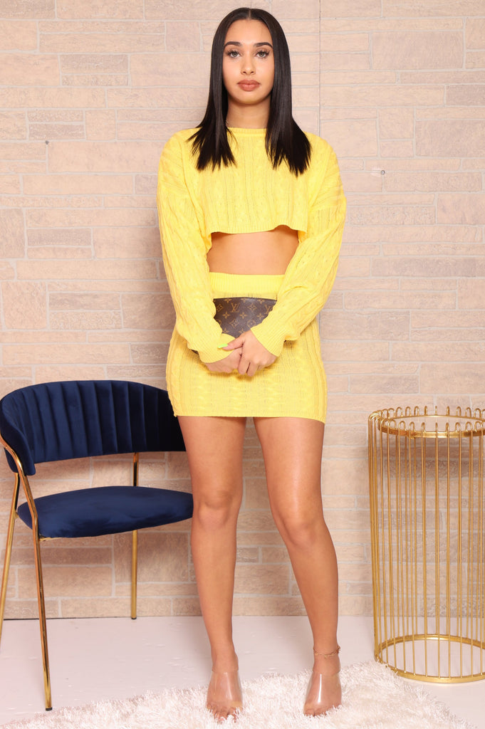 No Filter Knit Skirt Set - Lemon - Swank A Posh