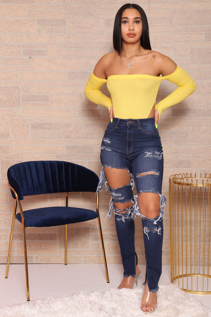 No Excuse Cut Out Bodysuit - Yellow - Swank A Posh