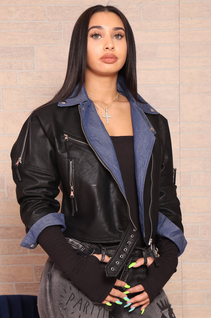 Duo Denim Faux Leather Jacket - Swank A Posh