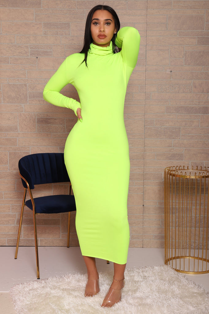 Old News Turtleneck Maxi Dress - Neon Green - Swank A Posh