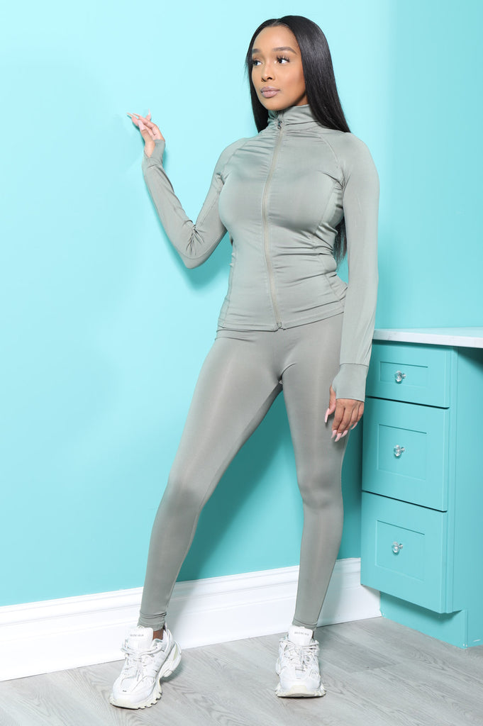 Easy Fit Athletic Set - Sage Green - Swank A Posh