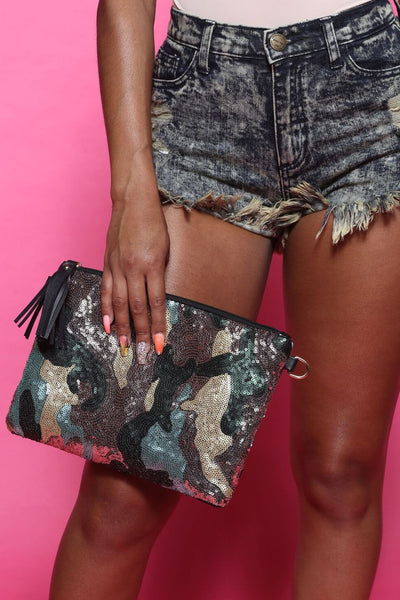 The Ref Camo Sequin Embellished Clutch Bag
