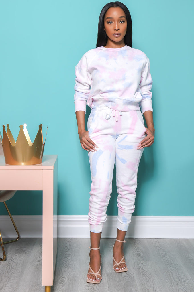 On A Tide Tie Dye Jogger Set - Pink Multi - Swank A Posh