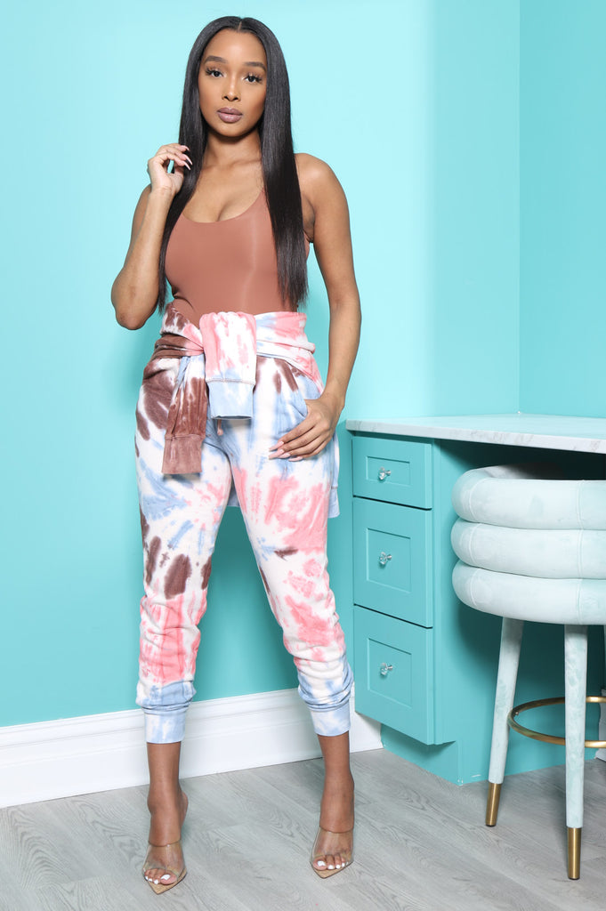 On A Tide Tie Dye Jogger Set - Brown Multi - Swank A Posh