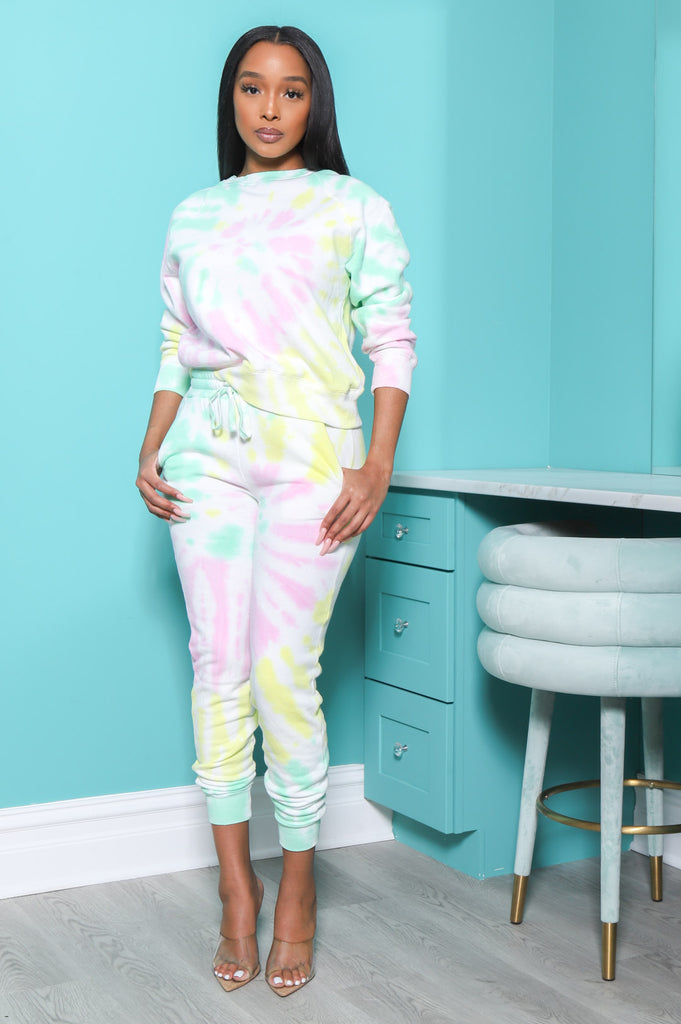 On A Tide Tie Dye Jogger Set - Yellow Multi - Swank A Posh