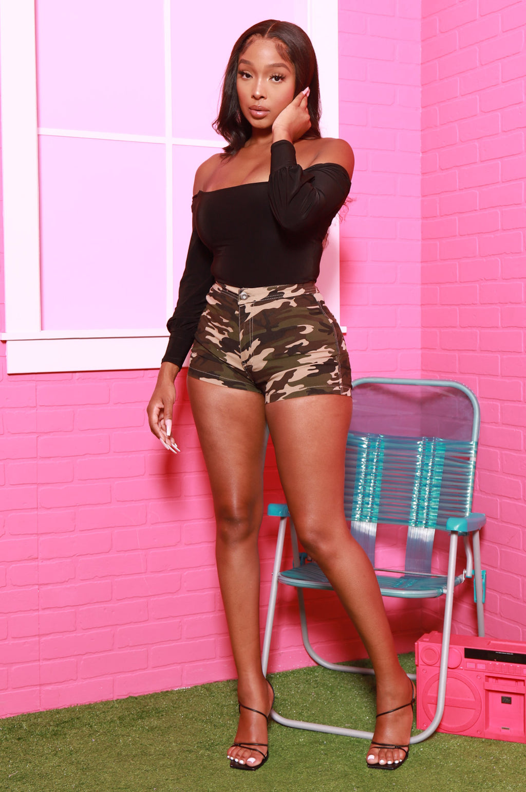 Ace High Waist Stretchy Shorts - Dark Camo - Swank A Posh