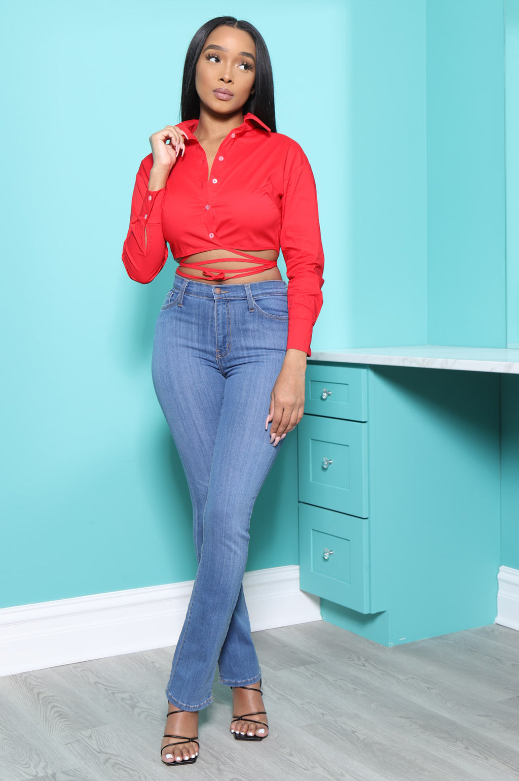 Best Of Me Cropped Button Up Top - Red - Swank A Posh