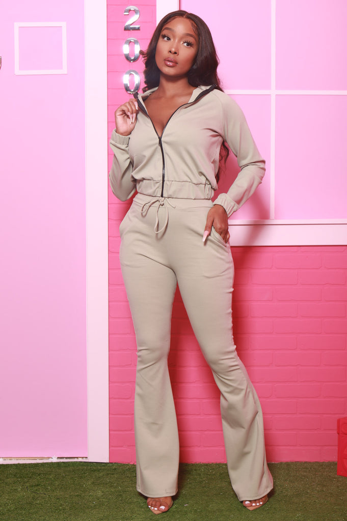 Ready Set Go Flare Tracksuit Set - Sage Green - Swank A Posh