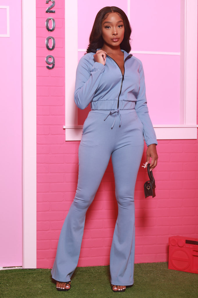 Ready Set Go Flare Tracksuit Set - Chambray Blue - Swank A Posh
