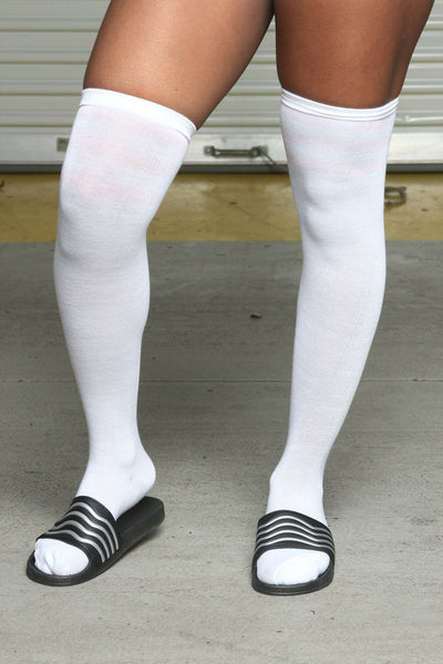 High Times Over The Knee Socks- White/Pink Stripe