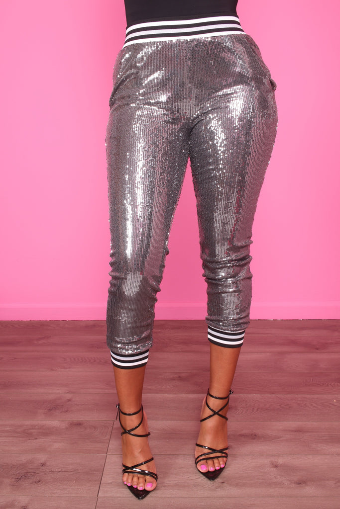 Fever Silver Sequin Pants - Swank A Posh