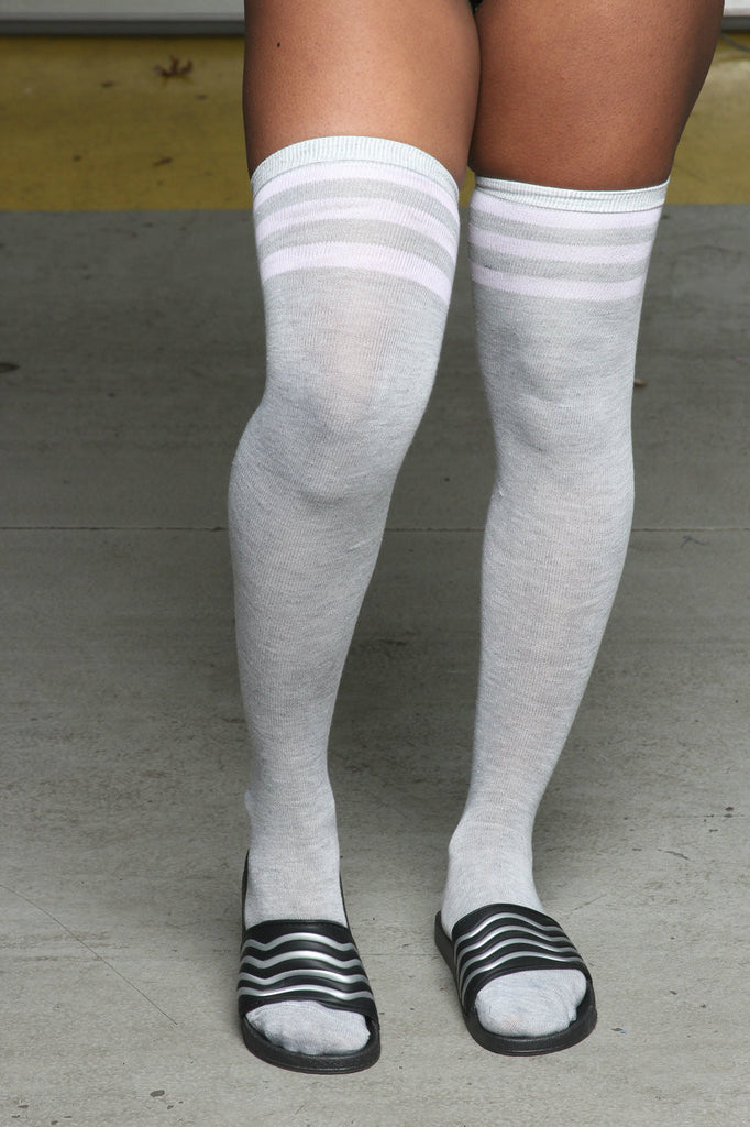 High Times Over The Knee Socks- Grey/Pink Stripe