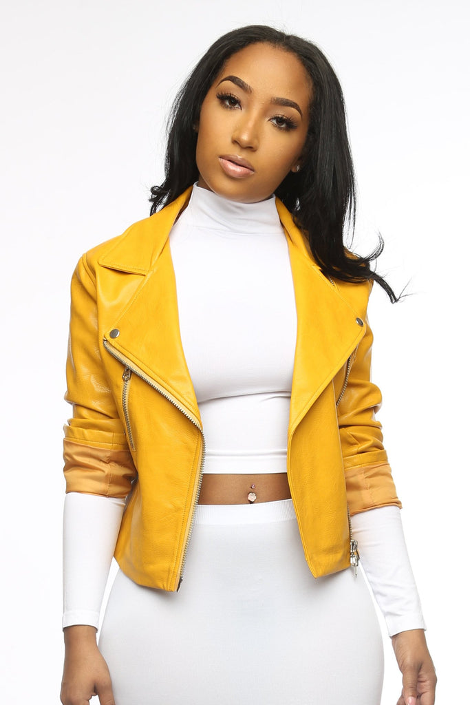 Doing Me Faux Leather Moto Jacket - Mustard - Swank A Posh