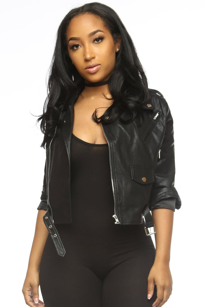 Doing Me Faux Leather Moto Jacket - Black - Swank A Posh