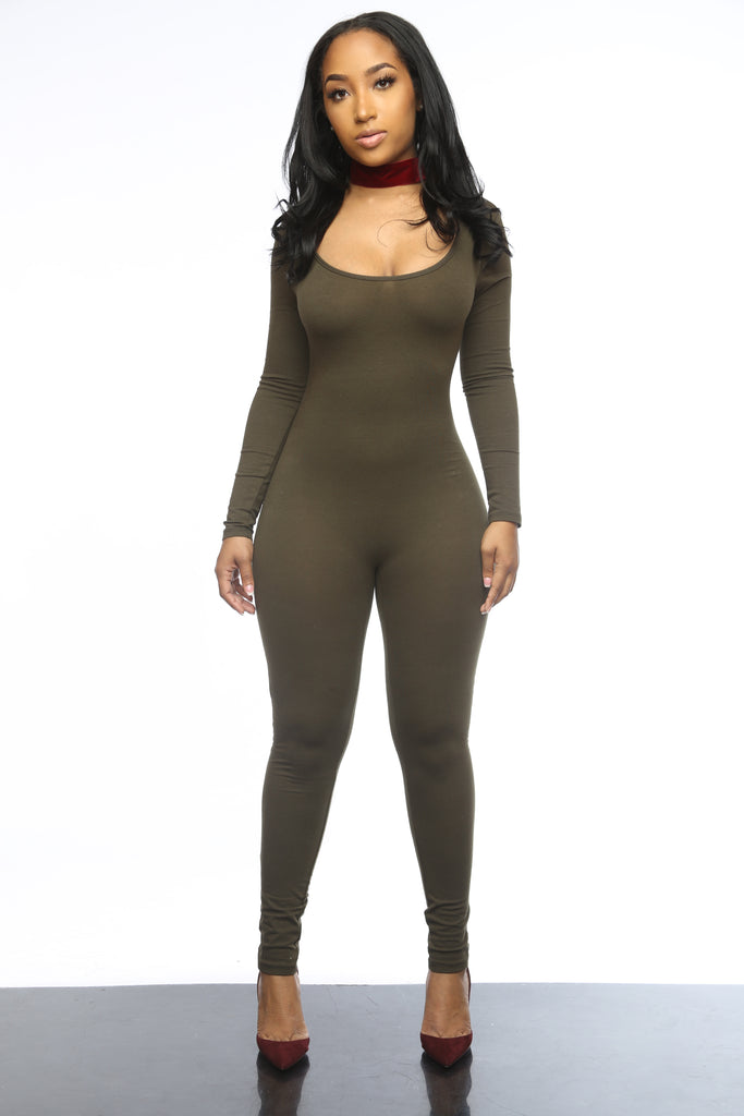 Basically Body Olive Full Jumpsuit - Swank A Posh
