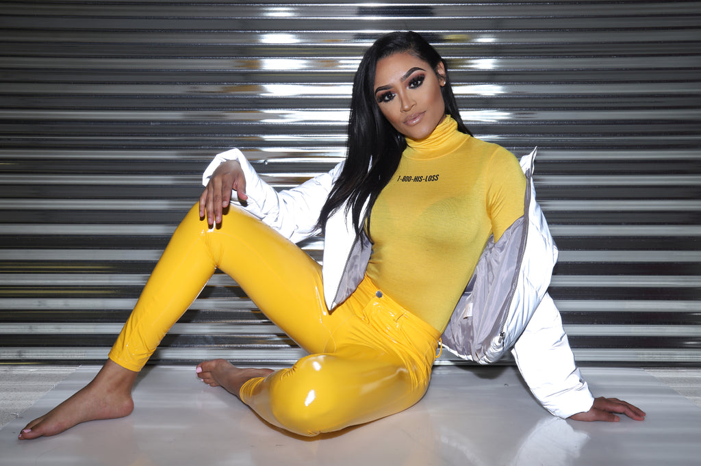 1-800-His-Loss Turtleneck Bodysuit - Yellow/Black - Swank A Posh