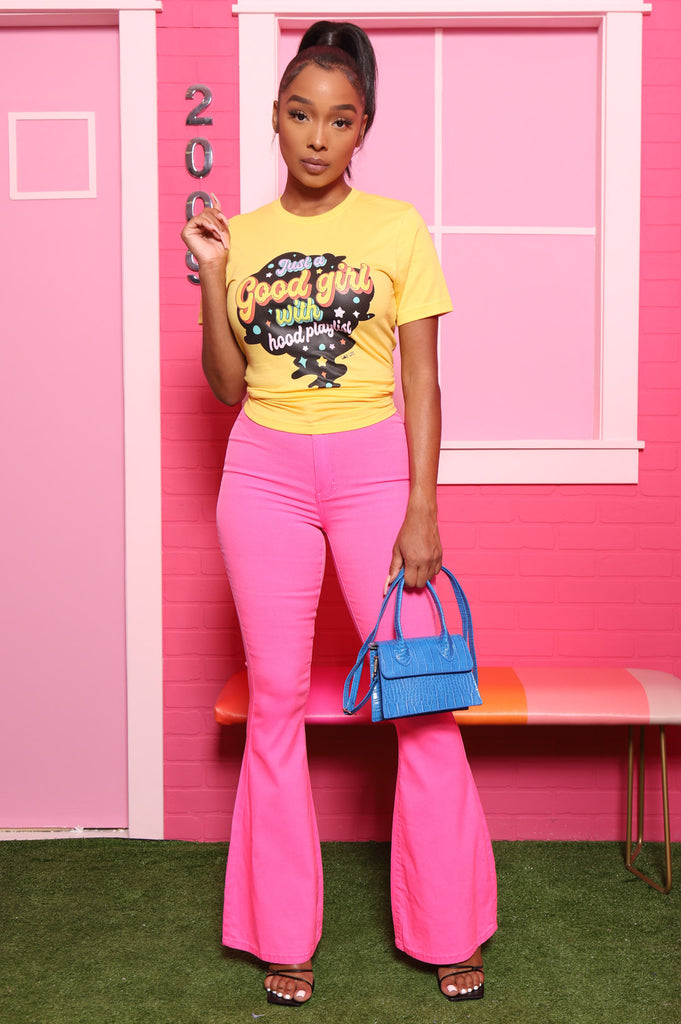 Major High Rise Flare Stretchy Jeans - Neon Pink - Swank A Posh