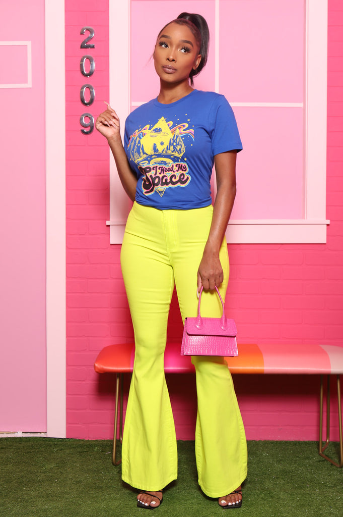 Major High Rise Flare Stretchy Jeans - Neon Yellow - Swank A Posh