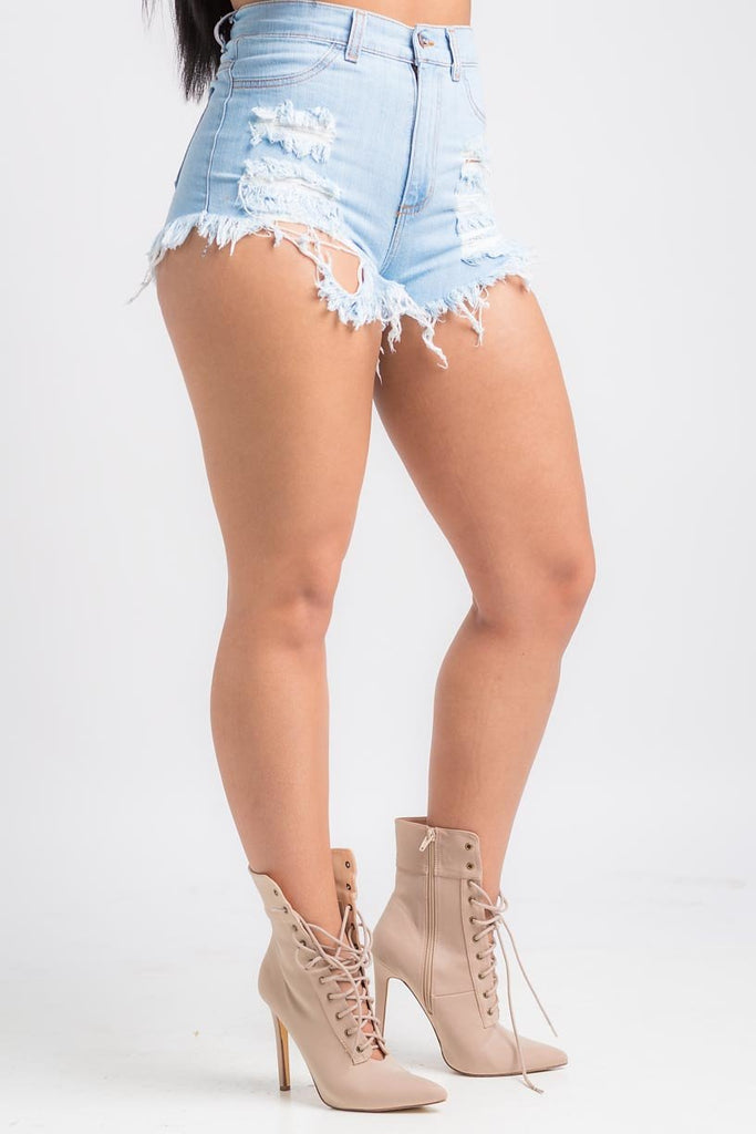 Bailey Light Denim Distressed Shorts - Swank A Posh