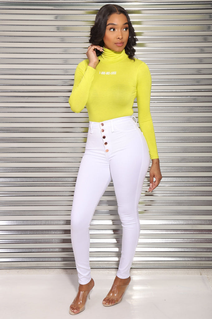 1-800-His-Loss Turtleneck Bodysuit - Lime/White - Swank A Posh
