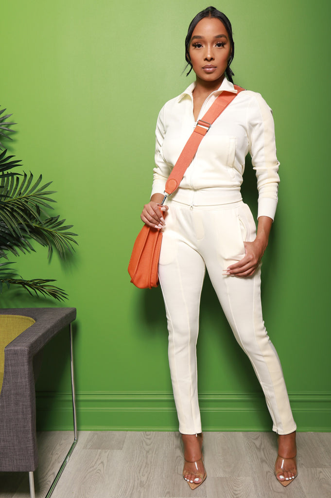 Somewhere Between Lined Tracksuit - Ivory - Swank A Posh