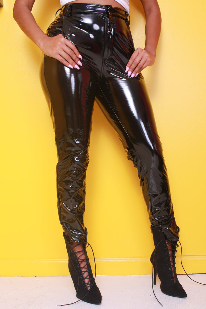 Boiling Point Black Latex Stretchy Pants - Swank A Posh