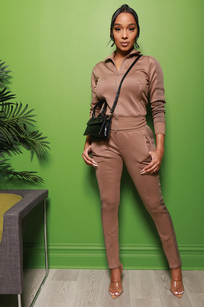 Somewhere Between Lined Tracksuit - Mocha - Swank A Posh