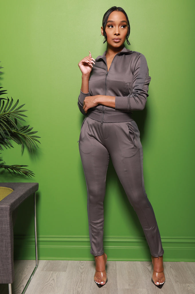 Somewhere Between Lined Tracksuit - Charcoal - Swank A Posh