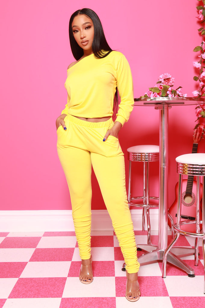 NaNa Ruched Pants Set - Mustard - Swank A Posh
