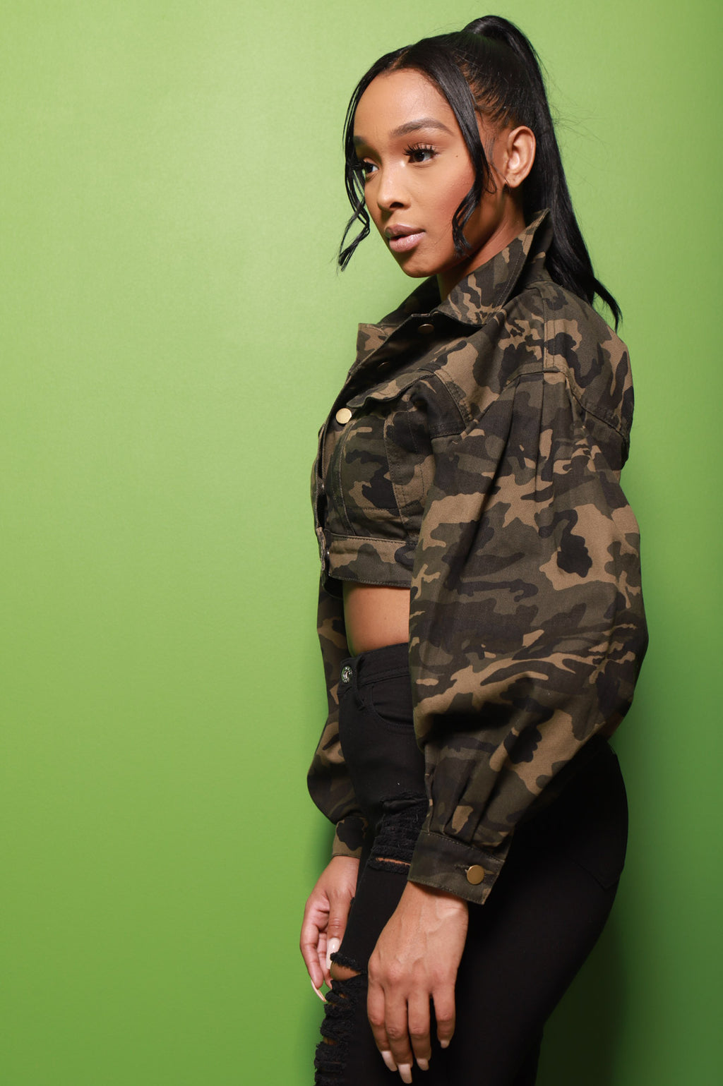 Swift Cropped Denim Jacket - Camo - Swank A Posh