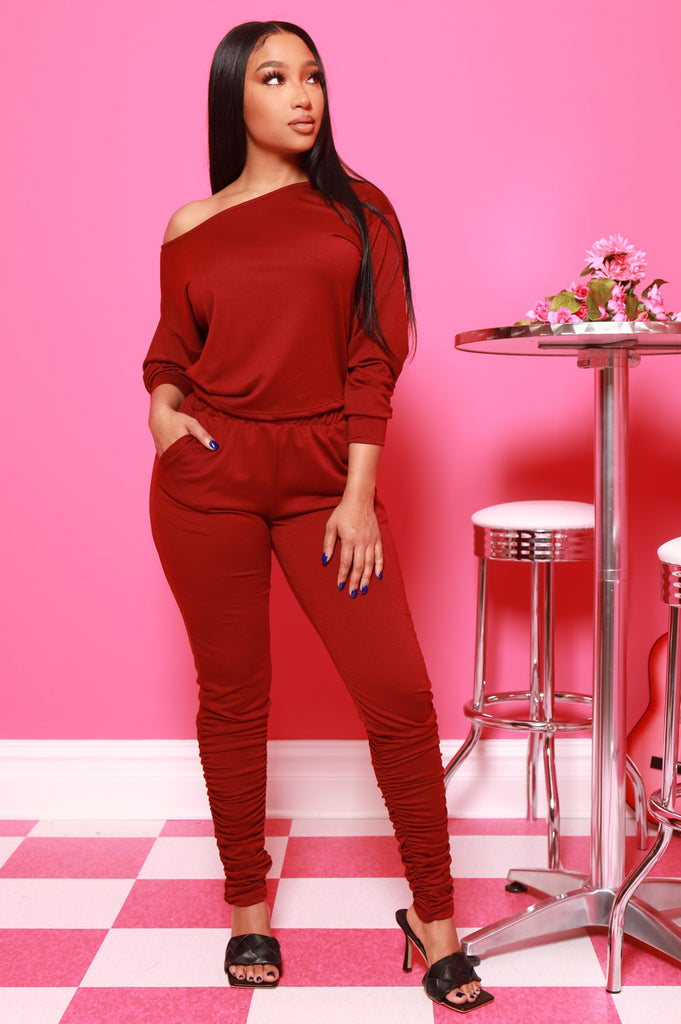 NaNa Ruched Pants Set - Burgundy - Swank A Posh