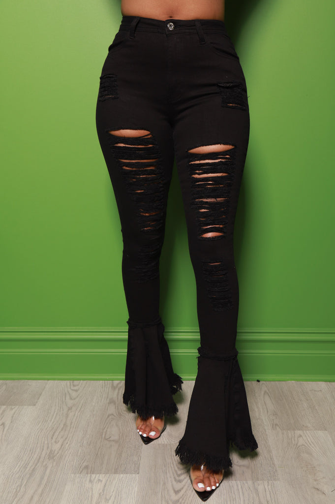 Cutting Corners Distressed Flare Jeans - Black - Swank A Posh