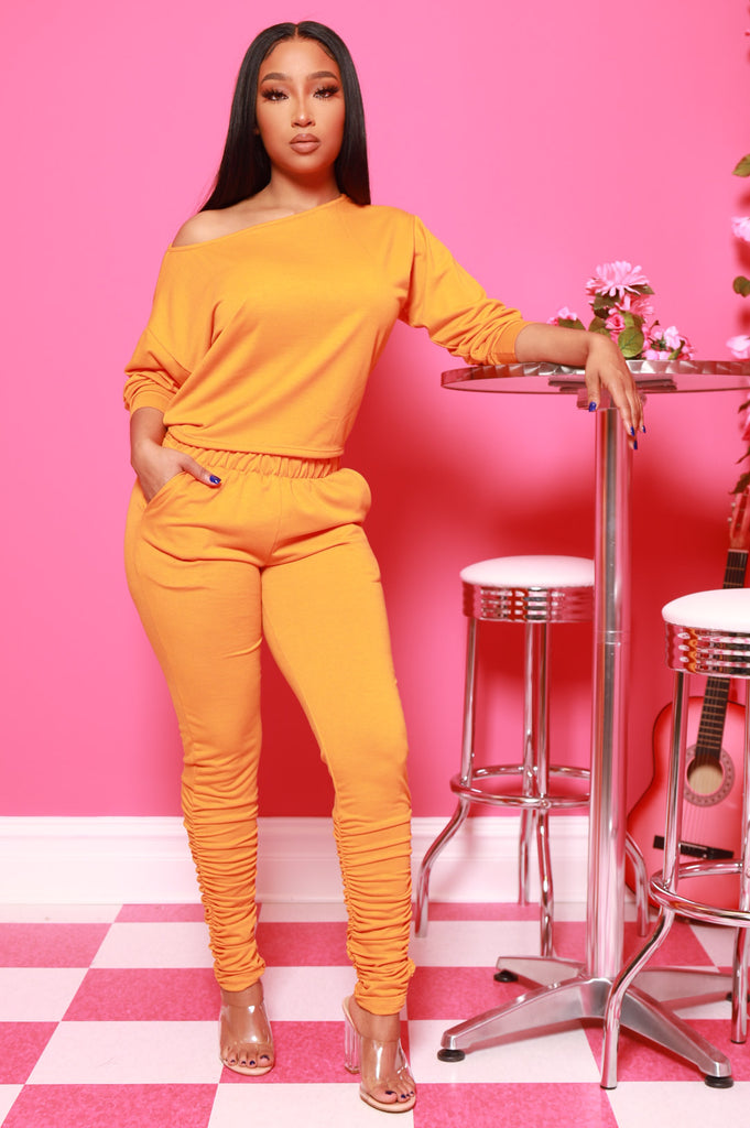 NaNa Ruched Pants Set - Carrot Gold - Swank A Posh