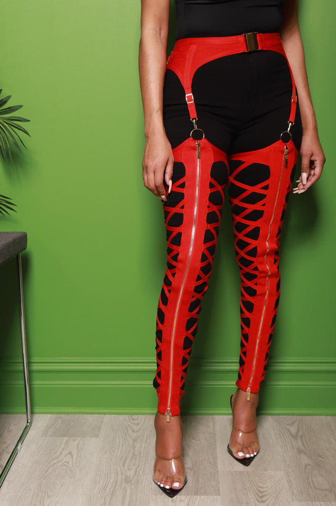 Caught Up Cut Out Bandage Chaps - Red - Swank A Posh