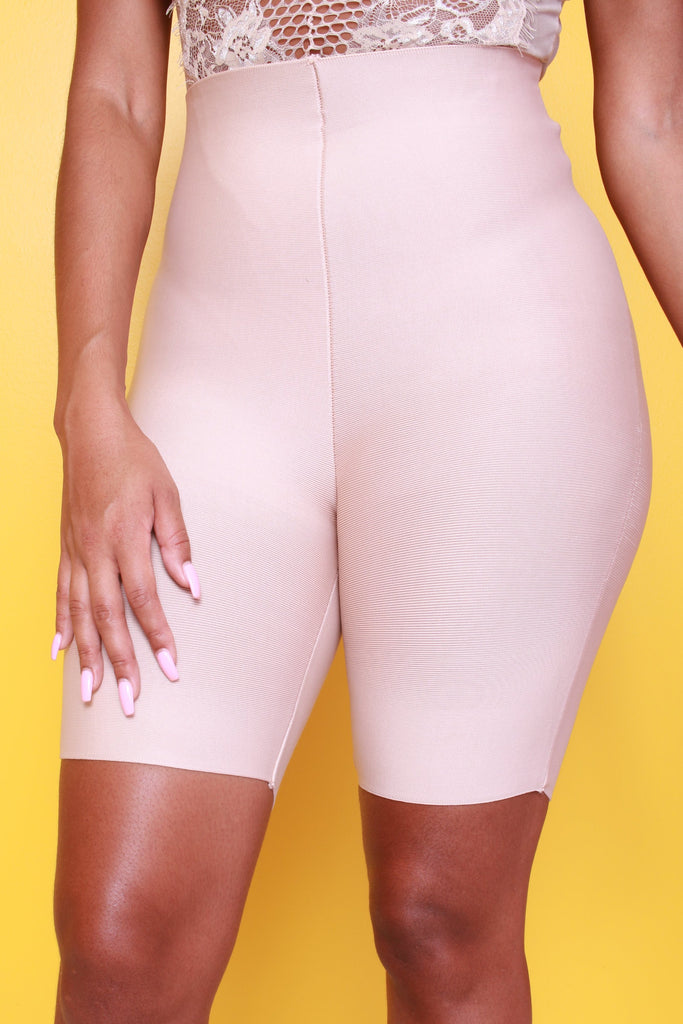 Butter High Waist Bandage Shorts - Nude - Swank A Posh