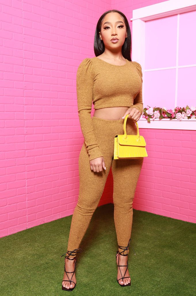 Warm Heart Ribbed Pants Set - Mustard - Swank A Posh