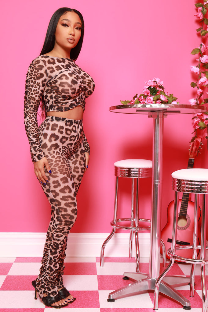 Kingdom Leopard Mesh Pants Set - Swank A Posh