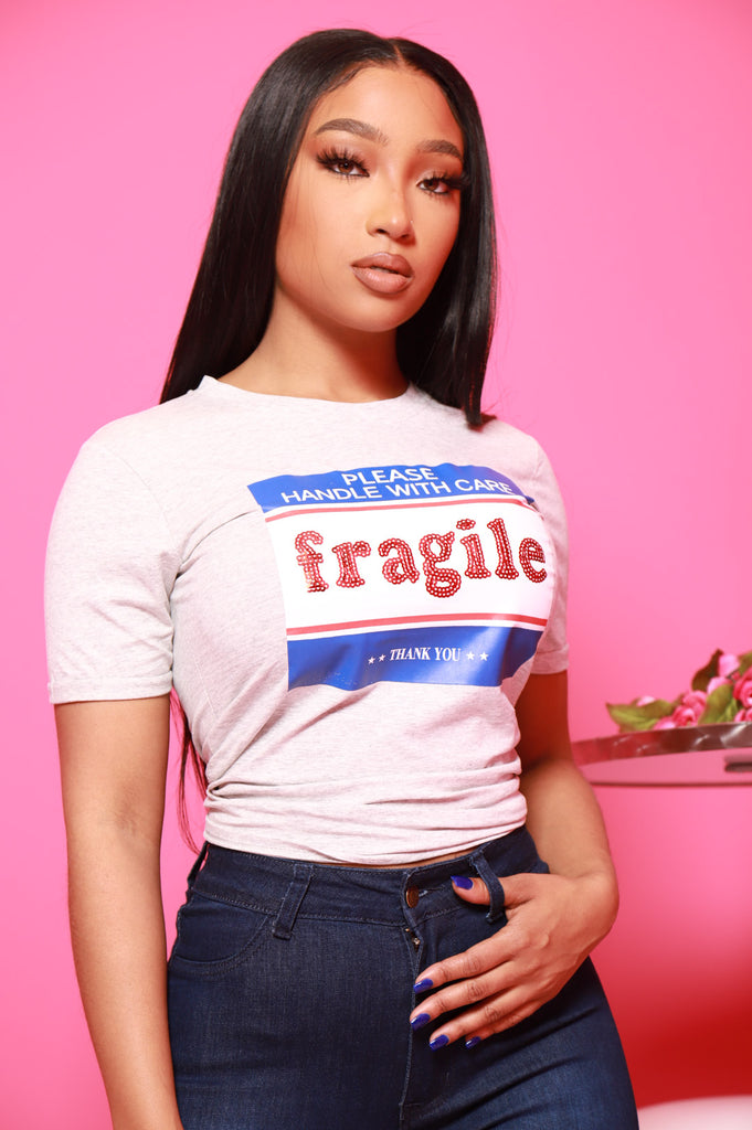 Fragile Please Graphic T-Shirt - Heather Grey - Swank A Posh