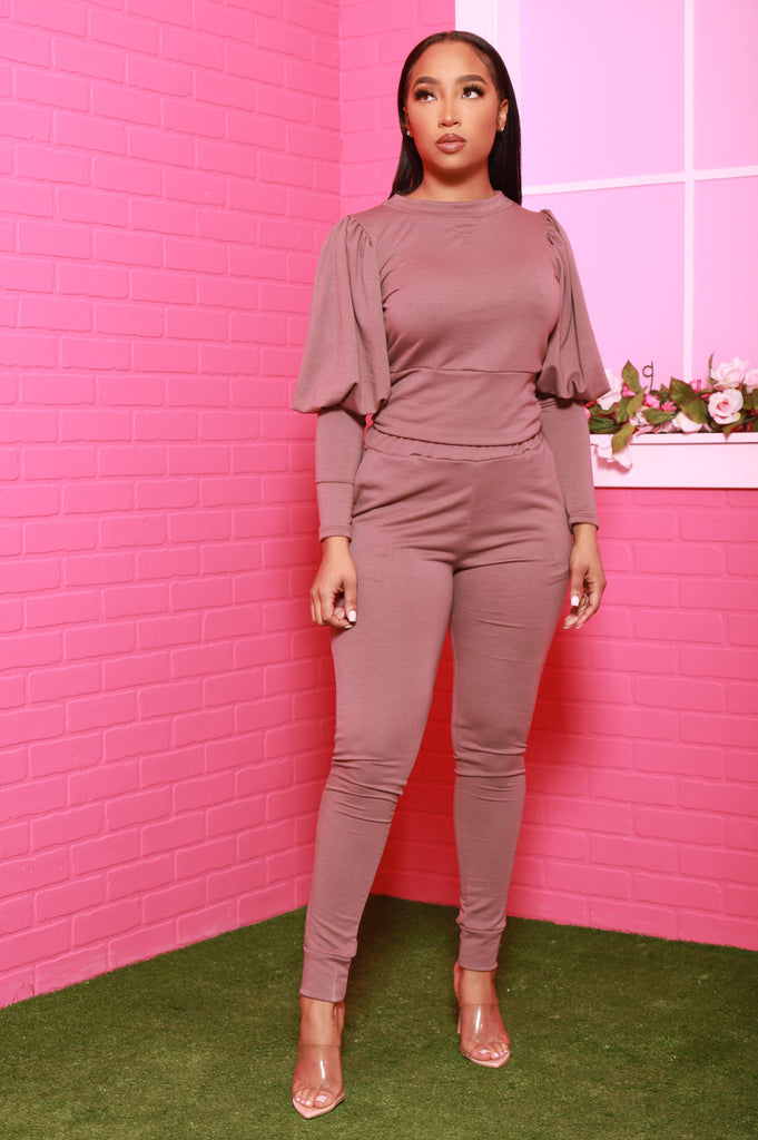 Diary Power Sleeve Jogger Set - Mocha - Swank A Posh