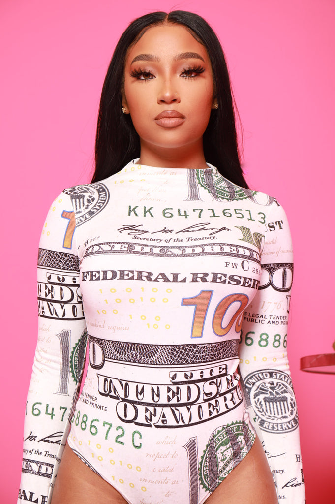 Hard Cash Money Printed Bodysuit - Swank A Posh