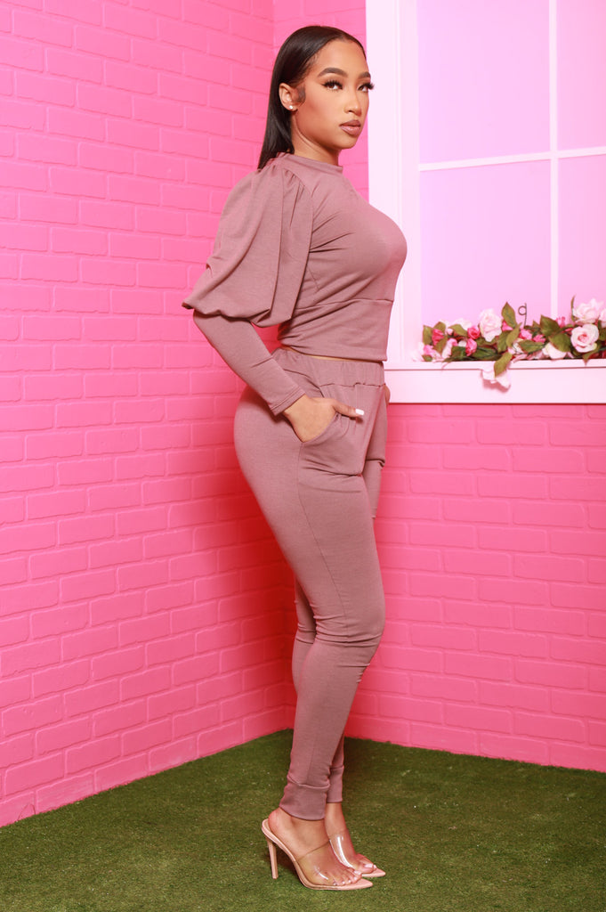 Diary Power Sleeve Jogger Set - Taupe - Swank A Posh