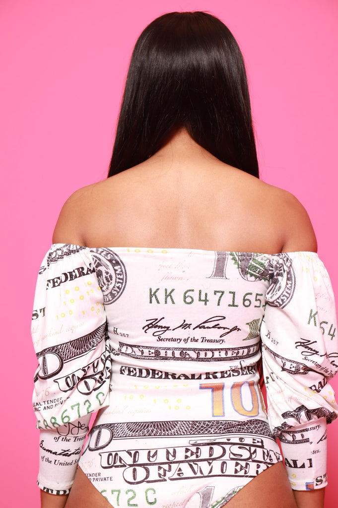 Money Signs Off The Shoulder Bodysuit - Swank A Posh