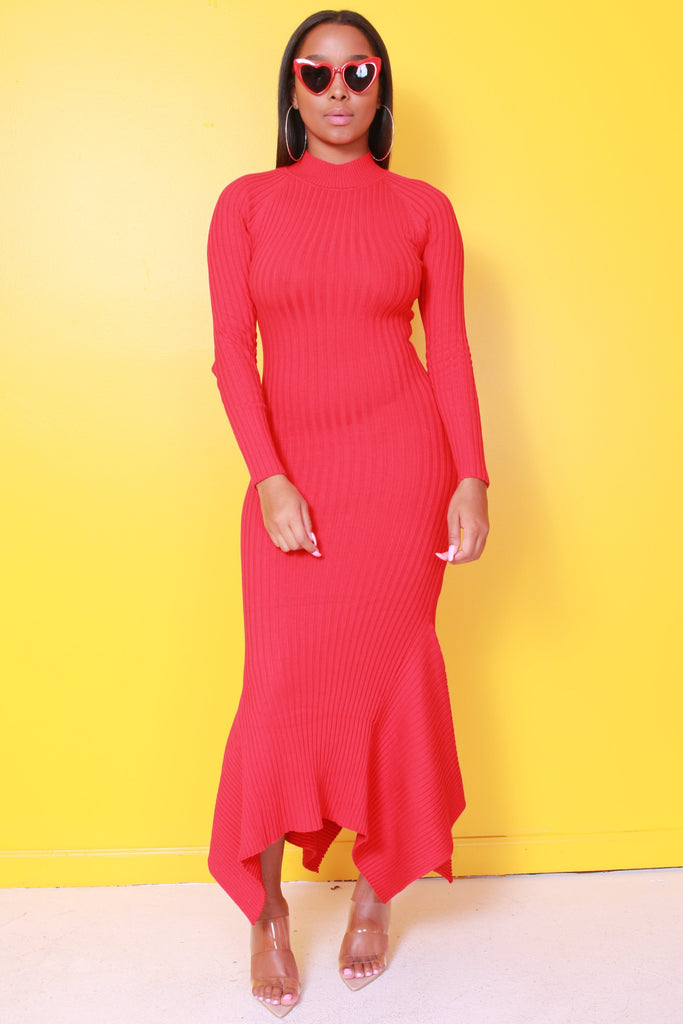 For Keeps Ribbed Red Flare Dress - Swank A Posh